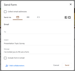 SEND Form Options, described in the text below